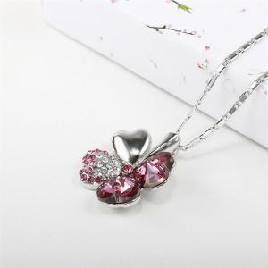 Four-Leaf Grass Rosy Pendant White Gold Fashionable Sweater Necklace -