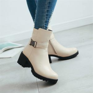 Women Shoes Zip Chunky Heel Motorcycle Boots -