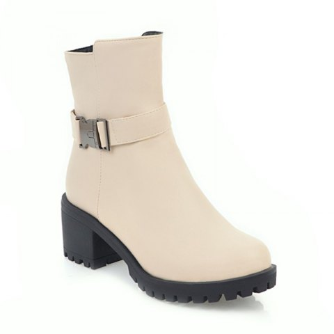 Online Women Shoes Zip Chunky Heel Motorcycle Boots