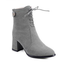 Women Shoes Chunky Heel  Zip Mid-Calf Boots -