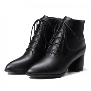 Women Shoes Pointed Toe Chunky Heel Ankle Boots -