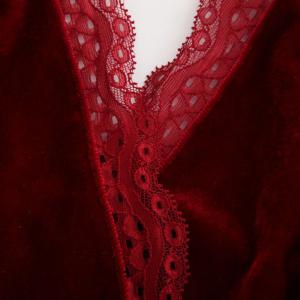 Autumn and Winter Velvet Stitching Lace Sexy V-Neck Halter Conjoined Shorts Female -