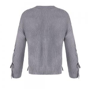 Autumn and Winter Round Neck Long Sleeve Cufflinks Loose Wild Sweater -