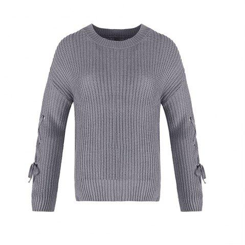 Outfits Autumn and Winter Round Neck Long Sleeve Cufflinks Loose Wild Sweater