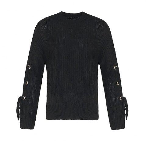 Fashion Autumn and Winter Round Neck Long Sleeve Cufflinks Loose Wild Sweater