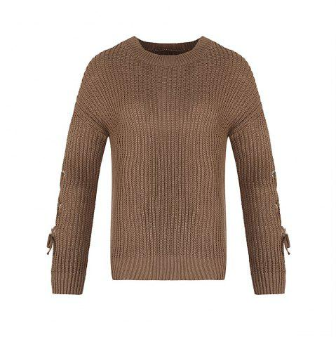 Store Autumn and Winter Round Neck Long Sleeve Cufflinks Loose Wild Sweater