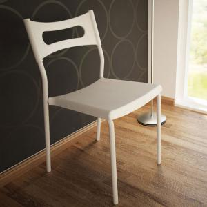 Simple Backrest Chair, White Plastic Chair With Carbon Steel Stool Legs -