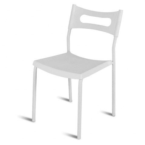 Discount Simple Backrest Chair, White Plastic Chair With Carbon Steel Stool Legs
