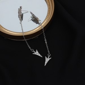 Fashion Arrow Rhinestone Earrings Archery Shape Ornament -