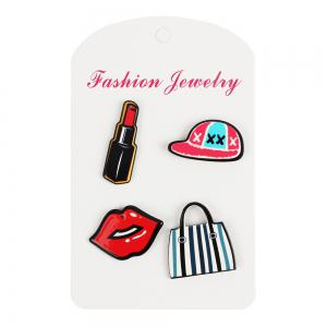 Girl Decorations Brooch Set Lipstick Lip Hat Bag Jewelry -