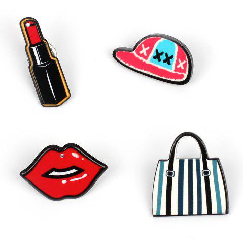 Shops Girl Decorations Brooch Set Lipstick Lip Hat Bag Jewelry