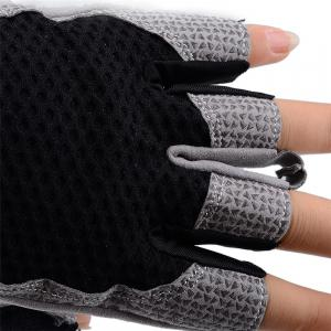 Cycling Half Finger Sweat Absorbent  Black Gloves (L) -