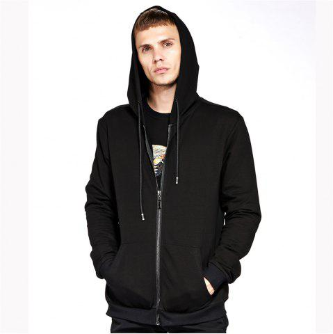 Chic Men's Hoodie Casual Fashion Solid Color All Match Long Sleeve Hoodie