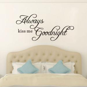 DSU Always Kiss Me Goodnight Wall Decals Quotes Vinyls Stickers Wall Stickers Home Decor Living Room -