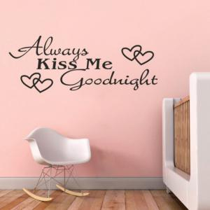 DSU Always Kiss Me LOVE Heart Quotes Vinyls Stickers Wall Stickers Home Decor Living Room -