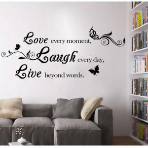 DSU Live Laugh Love Quotes Wall Decals Home Decorations Adesivo De Paredes Removable Diy Wall Stickers -
