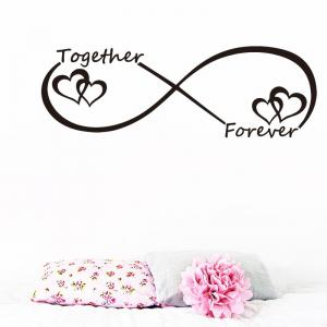DSU Together Forever Entwined Love Hearts Personalised Wall Art Vinyl Couple Wall Sticker for Bedroom Decor -