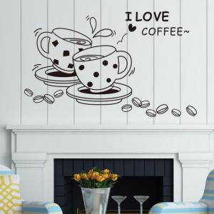 DSU love Coffee Wall Decal Removable Cute Coffee Cup Wall Sticker Kitchen Restaurant Vinyl Wall Stickers -