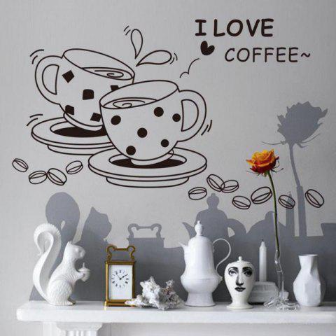 Trendy DSU love Coffee Wall Decal Removable Cute Coffee Cup Wall Sticker Kitchen Restaurant Vinyl Wall Stickers
