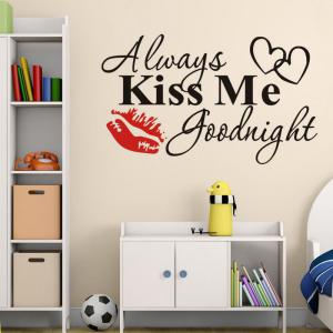 DSU Master Bedroom Wall Decal Quotes Always Kiss Me Goodnight Headboard Wall Stickers Vinyl Removable DIY Modern Home Decor -
