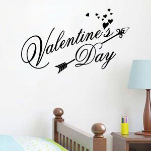 DSU Happy Valentines Day Wall Decal Classic Festiva Vinyl Heart Wall Stickers Interior Windows Home Decor Door Art Mural Decal -