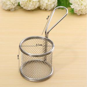 Kitchen Stainless Steel French Fry Basket Small Round Net Mini Cooking Tools -