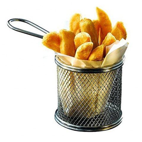 Fashion Kitchen Stainless Steel French Fry Basket Small Round Net Mini Cooking Tools