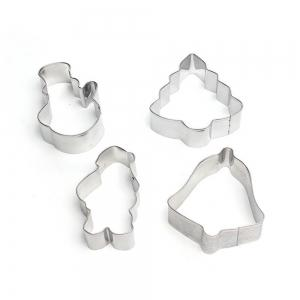 4PCS/SET Christmas Tree Stainless Steel Cookie Mould Fondant Cook Cutters Biscuit Mold Kitchen Baking Tools -