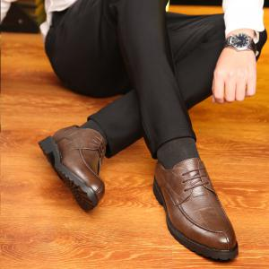Men Casual Trend of Fashion Rubber Leather Solid Outdoor Wedding Business Shoes -