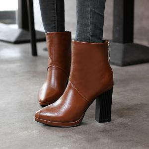 Pointed Rough with High-Heeled Fashion Zipper Boots -