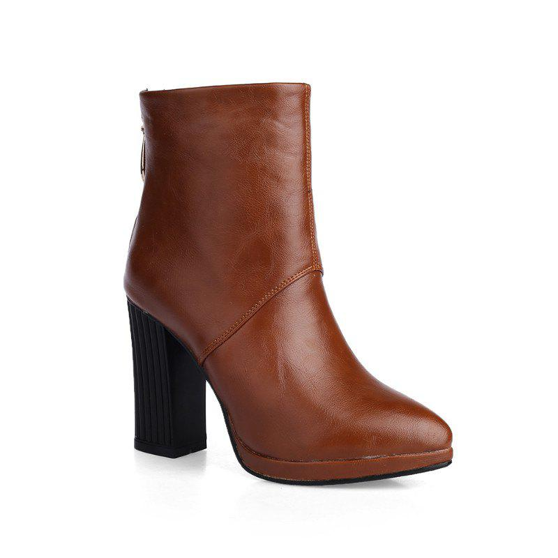 Shop Pointed Rough with High-Heeled Fashion Zipper Boots