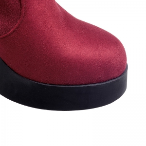 Round Waterproof Platform Rough with High Heel Sexy Wear Two High Boots -