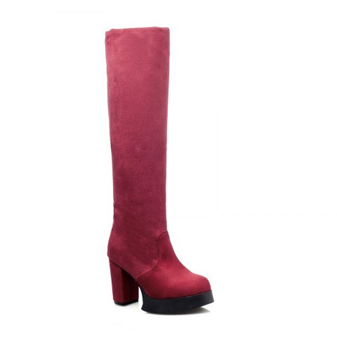 Fancy Round Waterproof Platform Rough with High Heel Sexy Wear Two High Boots