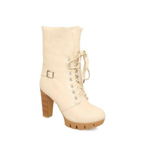 Chic Round Waterproof Platform Rough with High-Heeled Fashion Two Wear Short Boots