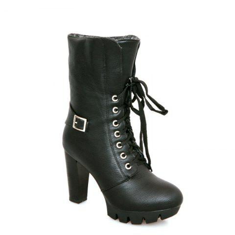 Fancy Round Waterproof Platform Rough with High-Heeled Fashion Two Wear Short Boots