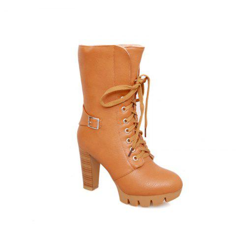 Trendy Round Waterproof Platform Rough with High-Heeled Fashion Two Wear Short Boots