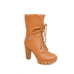 Round Waterproof Platform Rough with High-Heeled Fashion Two Wear Short Boots -