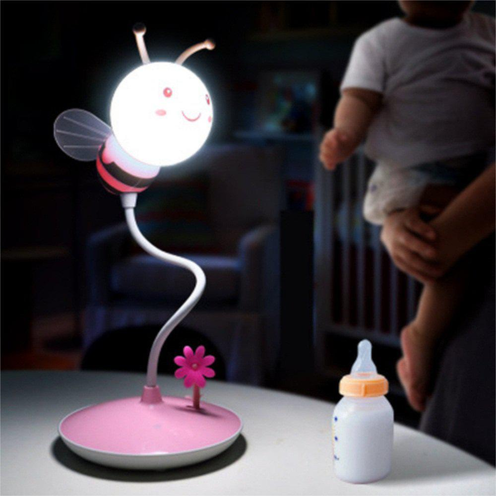 Shops Cartoon Bee LED Lamp USB Charging Touch Dimming Pink White Light