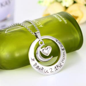 The Sun and MoonPendant Silver Necklace Women Clavicle Chain -