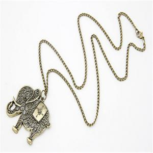 Fashionable Retro Bronze Elephant Pendant Necklace Chain Lady Sweater Chain -