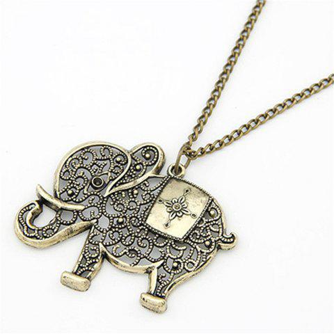 Buy Fashionable Retro Bronze Elephant Pendant Necklace Chain Lady Sweater Chain