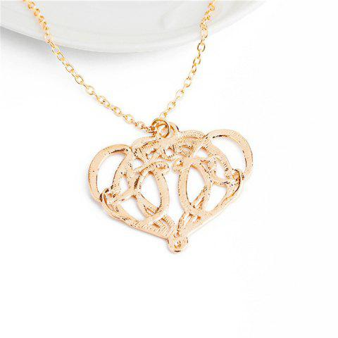 Store Women's Necklace Golden Color Hollow Out Love Pendant Clavicle Chain