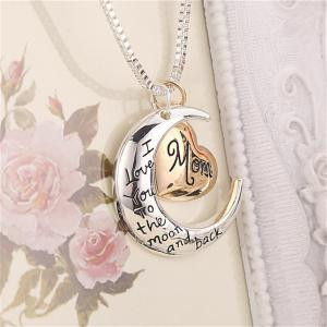 Exquisite Mom Letter Moon Pendant Lady Necklace Clavicle Chain -