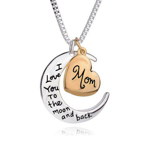Outfit Exquisite Mom Letter Moon Pendant Lady Necklace Clavicle Chain