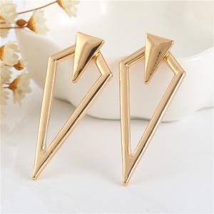 Fashion Personality All-match Lady Prismatic Metal Earrings -