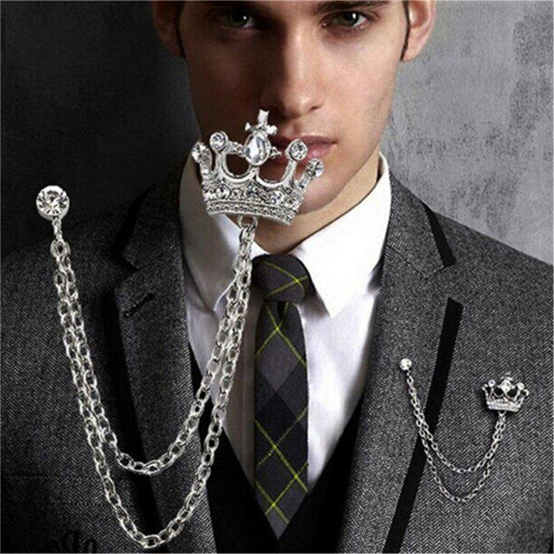 Unique Gleiny diamond crown styling men's Suit Brooch