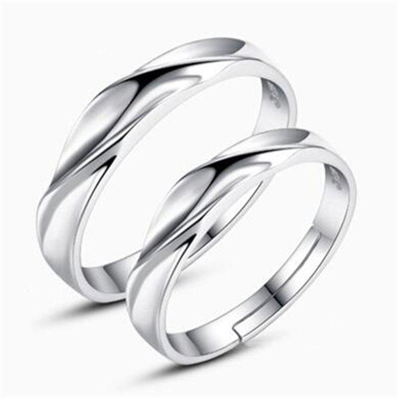 Cheap Ataullah New 925 Silver Lovers' Rings Men and Women Trendy Sterling Silver Rings Adjustable Size Fine Jewelry RWD852