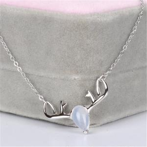 Natural Moonstone 925 Sterling Silver Necklaces for Women Antlers Luxury Pendants Fine Jewelry With Chain SSN013 -