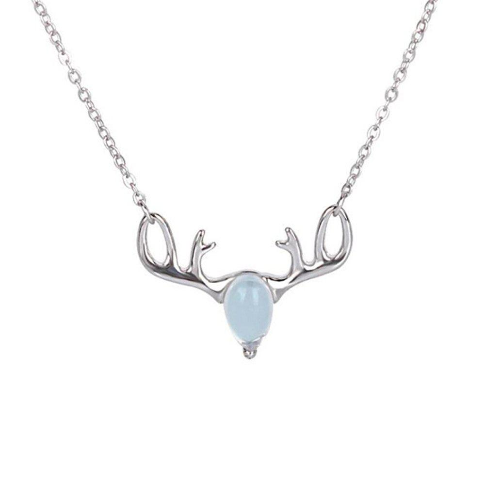 Affordable Natural Moonstone 925 Sterling Silver Necklaces for Women Antlers Luxury Pendants Fine Jewelry With Chain SSN013