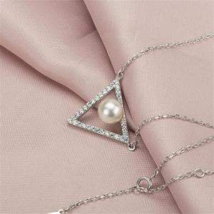 Ataullah Natural Pearls Triangle Luxury Pendants 925 Sterling Silver Necklaces for Women Fine Jewelry With Chain SSN012 -